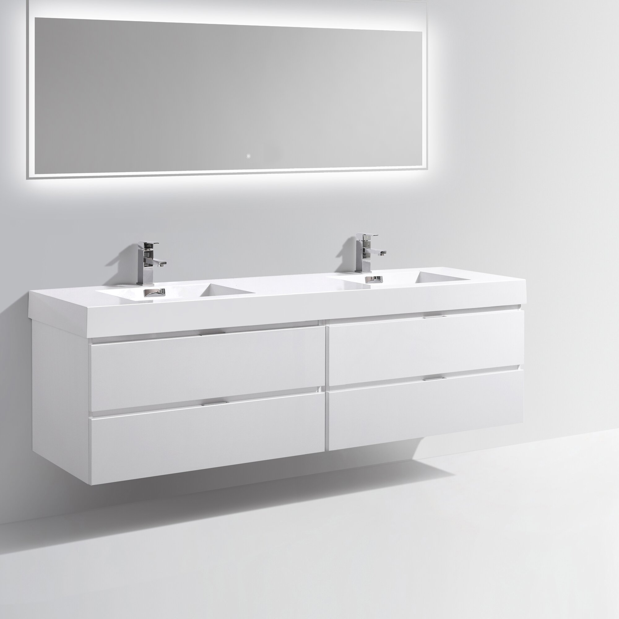 Wade Logan Tenafly Wood  Double Modern Bathroom Vanity Set - White modern bathroom vanity