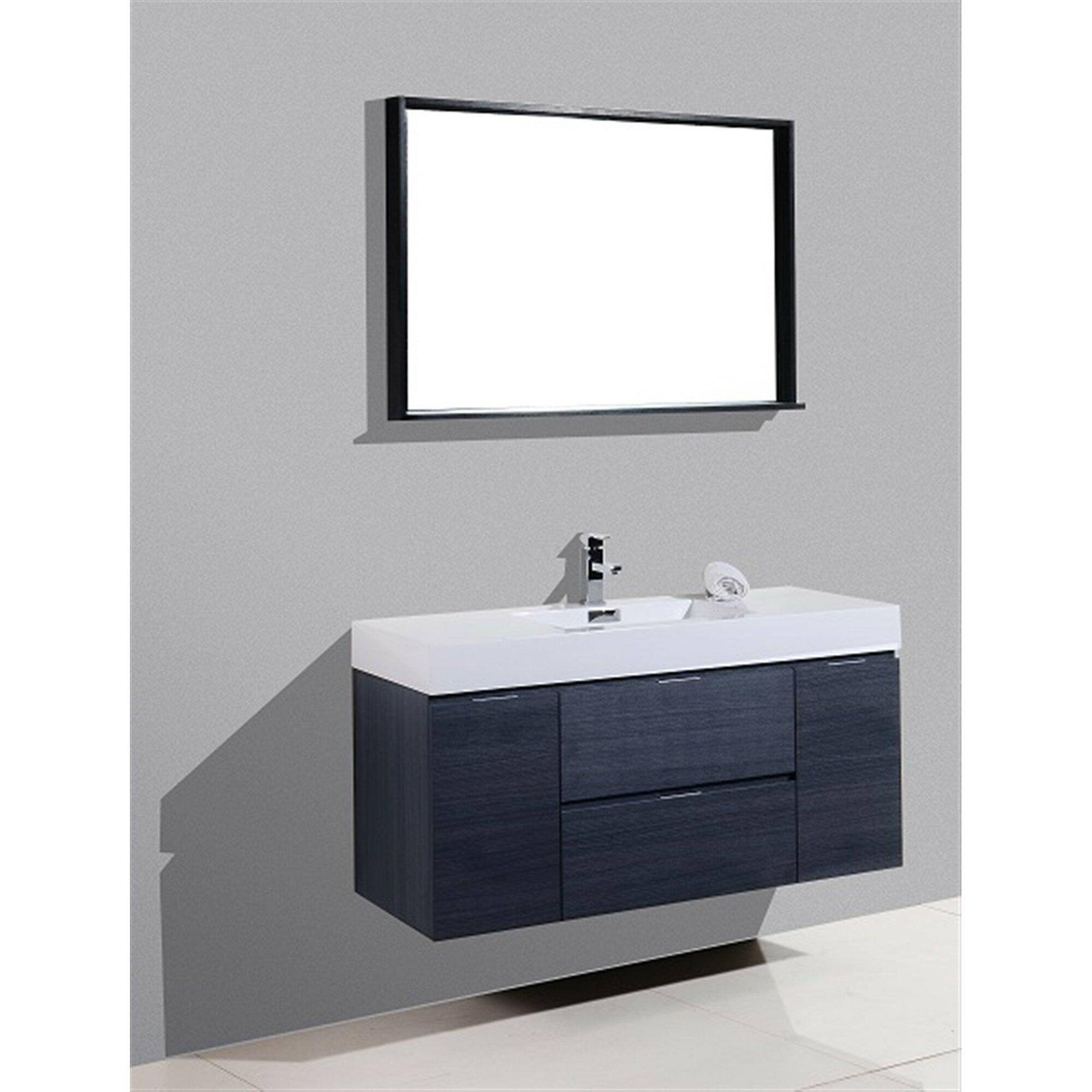 31 Inch Wall Mounted Black Gl Bathroom Vanity