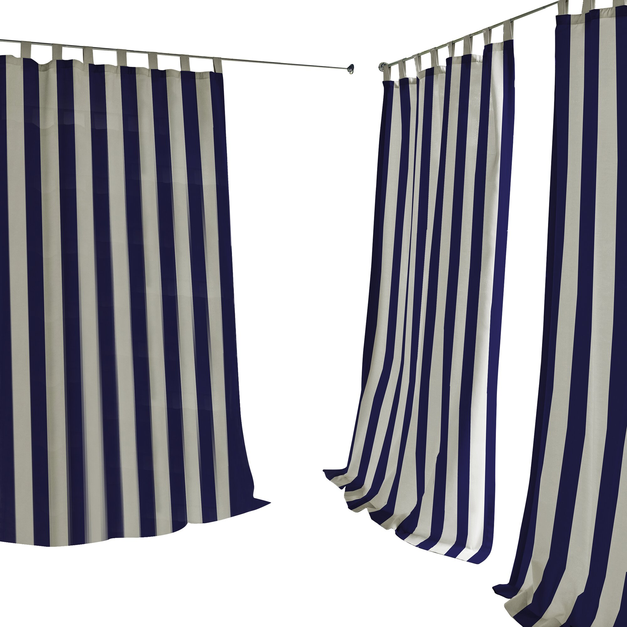 Sheer outdoor curtains - Bay Isle Home Briarton Highland Stripe Semi Sheer Outdoor Tab Top Single Curtain Panel Reviews Wayfair