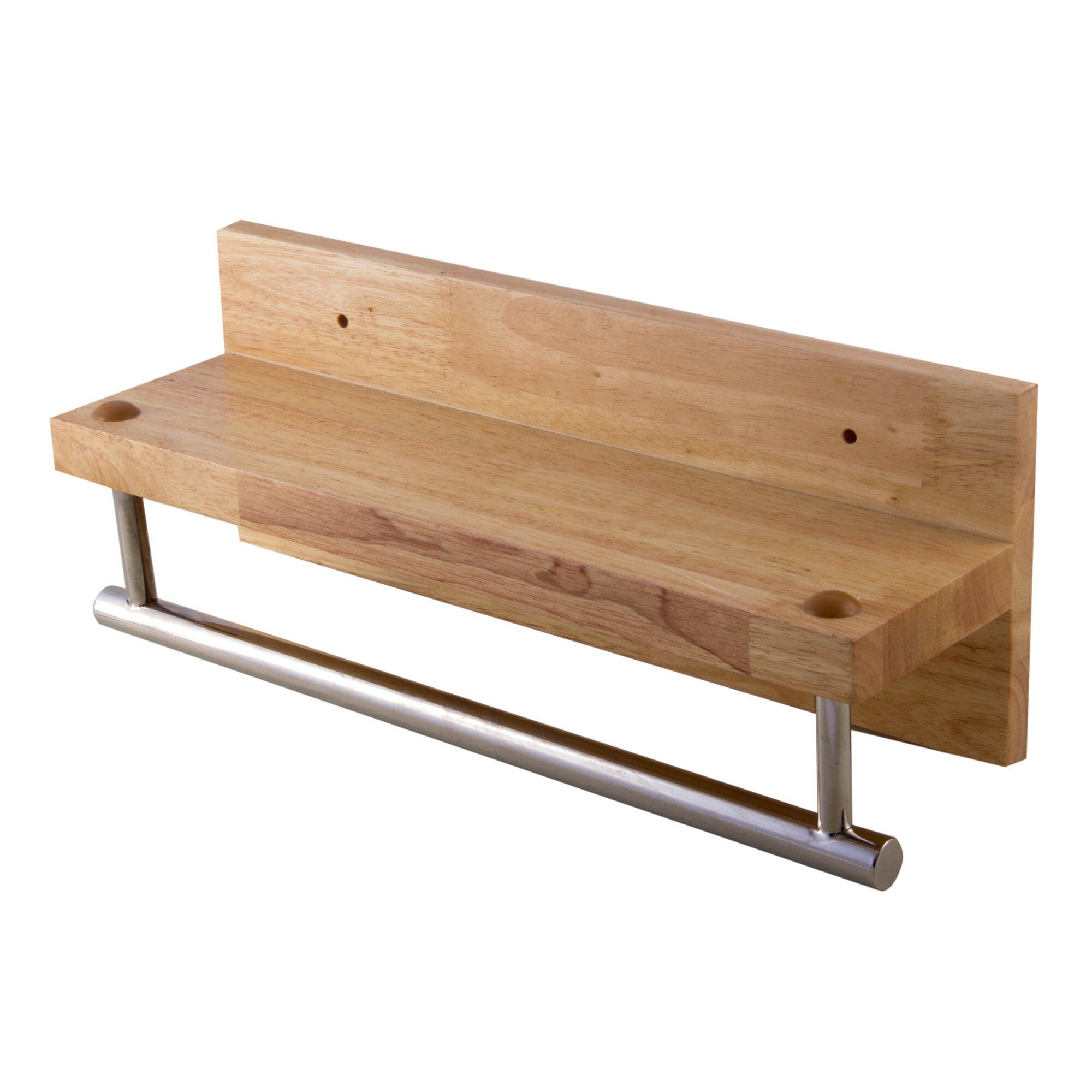 "Wooden Shelf With Towel Bar: Alfi Brand Wooden Shelf 16"" Wall Mounted Towel Bar"