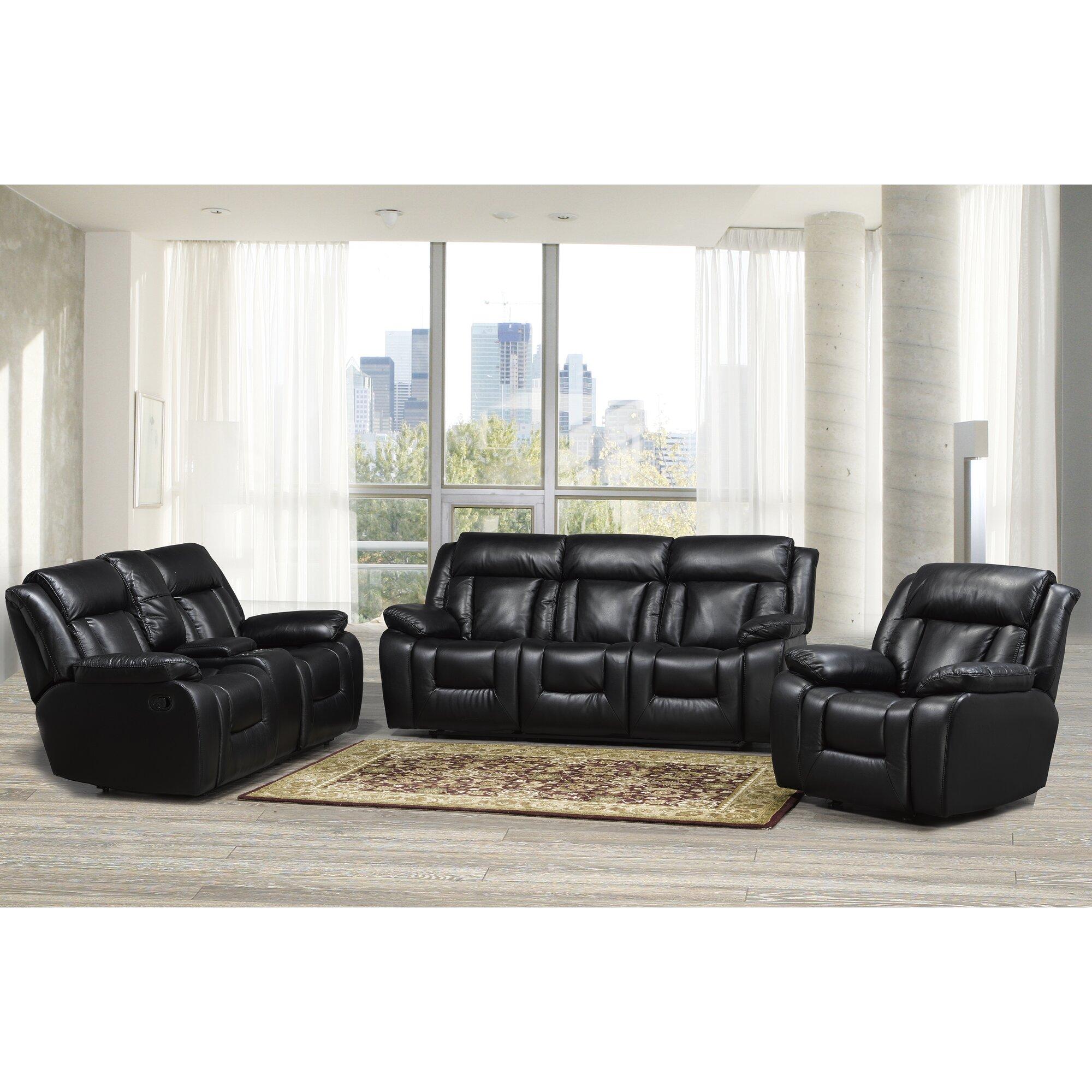 Red Barrel Studio Arcadia 3 Piece Leather Recliner Living Room Set