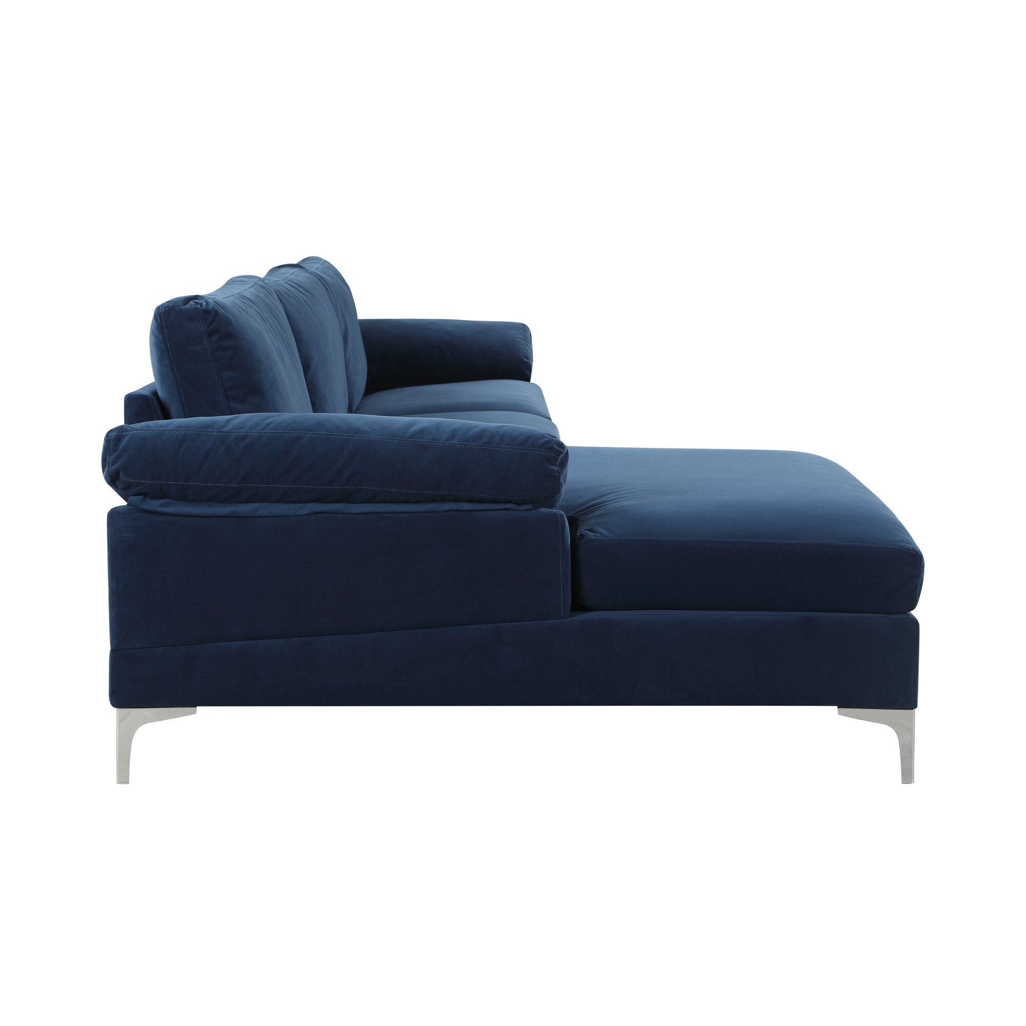 kailey modern velvet fabric sectional sofa with chaise lounge  - kailey modern velvet fabric sectional sofa with chaise lounge