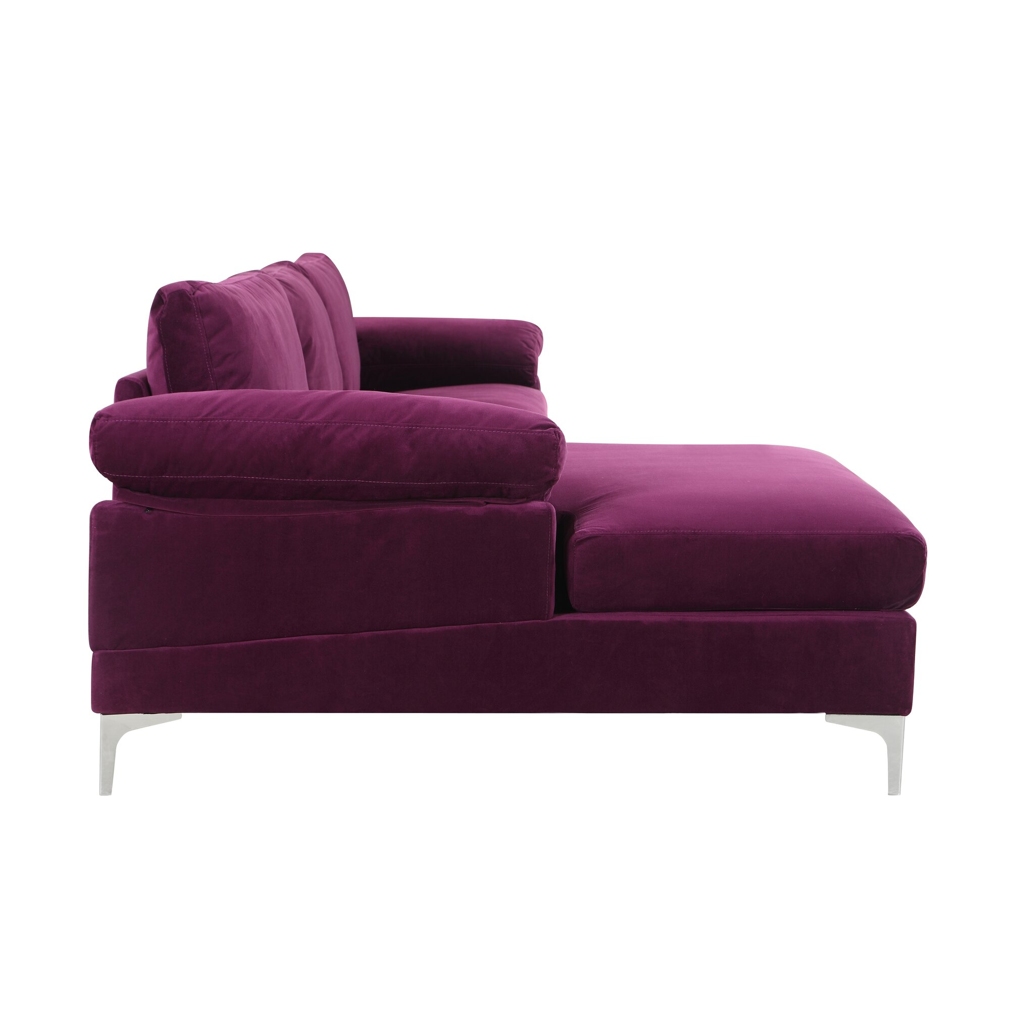 Kailey Modern Velvet Fabric Sectional Sofa with Chaise Lounge