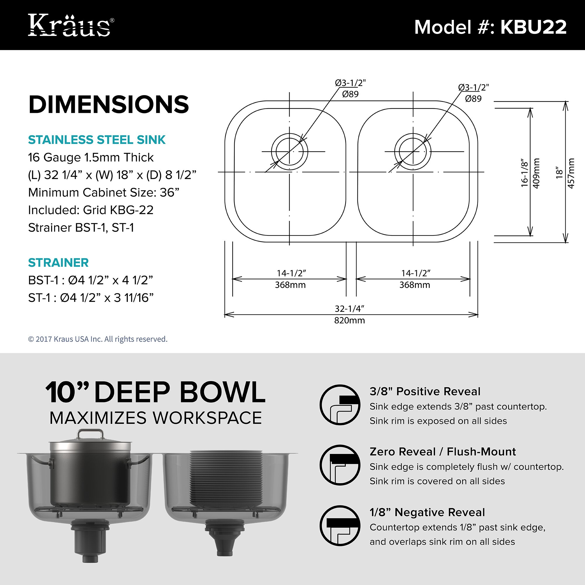 Bathroom sink dimensions mm - Stainless Steel 32 25 X 18 Double Basin Undermount Kitchen Sink With Noisedefend Soundproofing