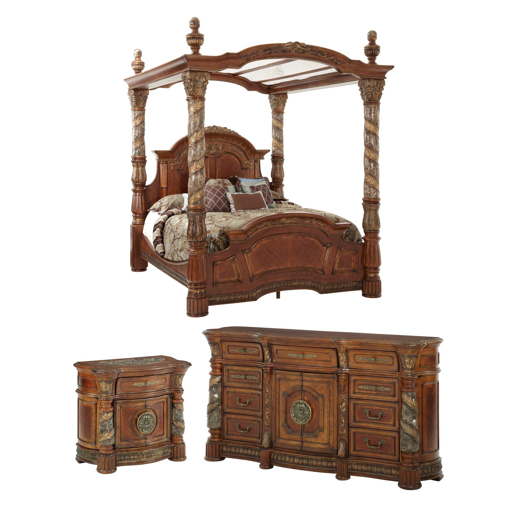 michael amini villa valencia canopy customizable bedroom set reviews