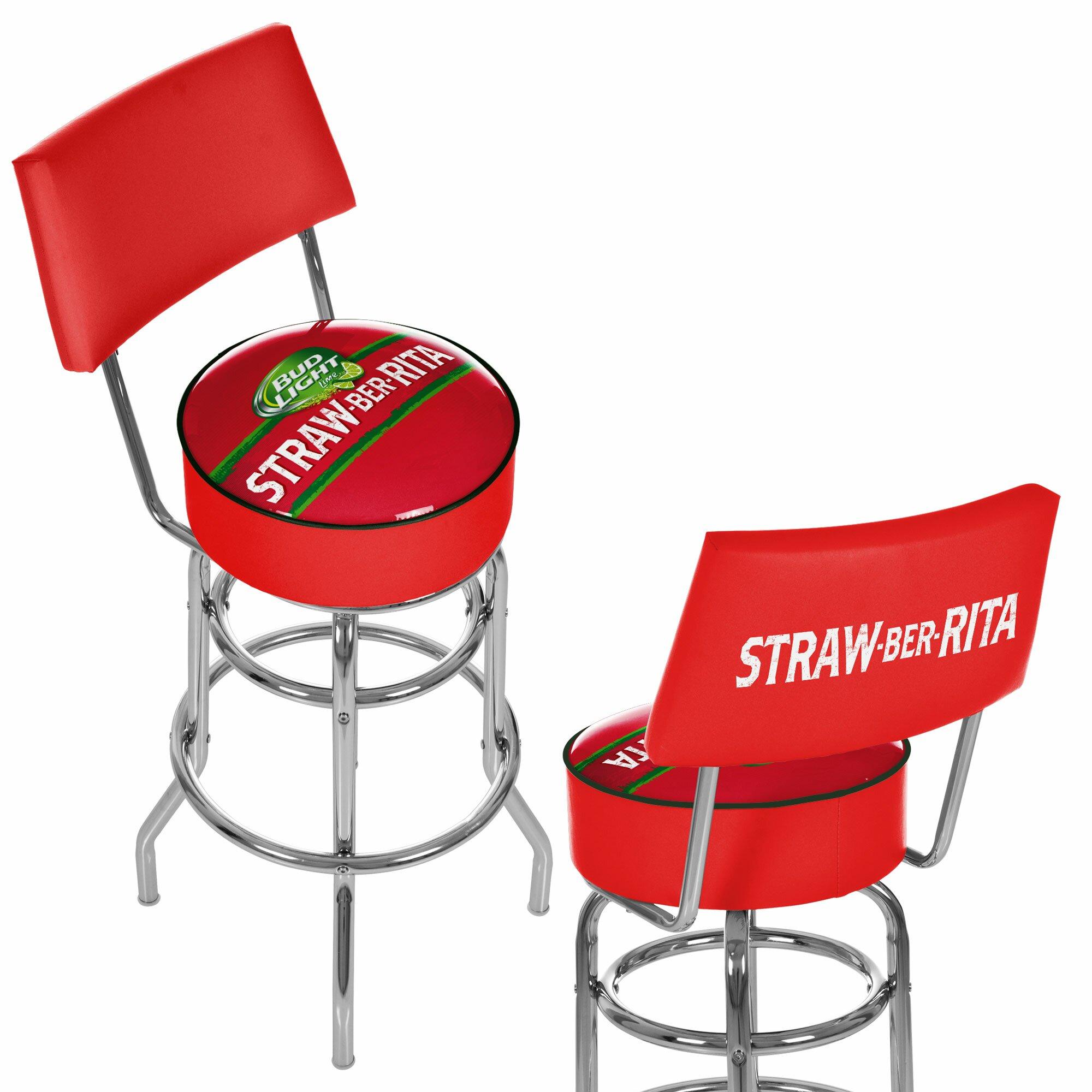 trademark global bud light straw ber rita swivel bar stool with back. Black Bedroom Furniture Sets. Home Design Ideas