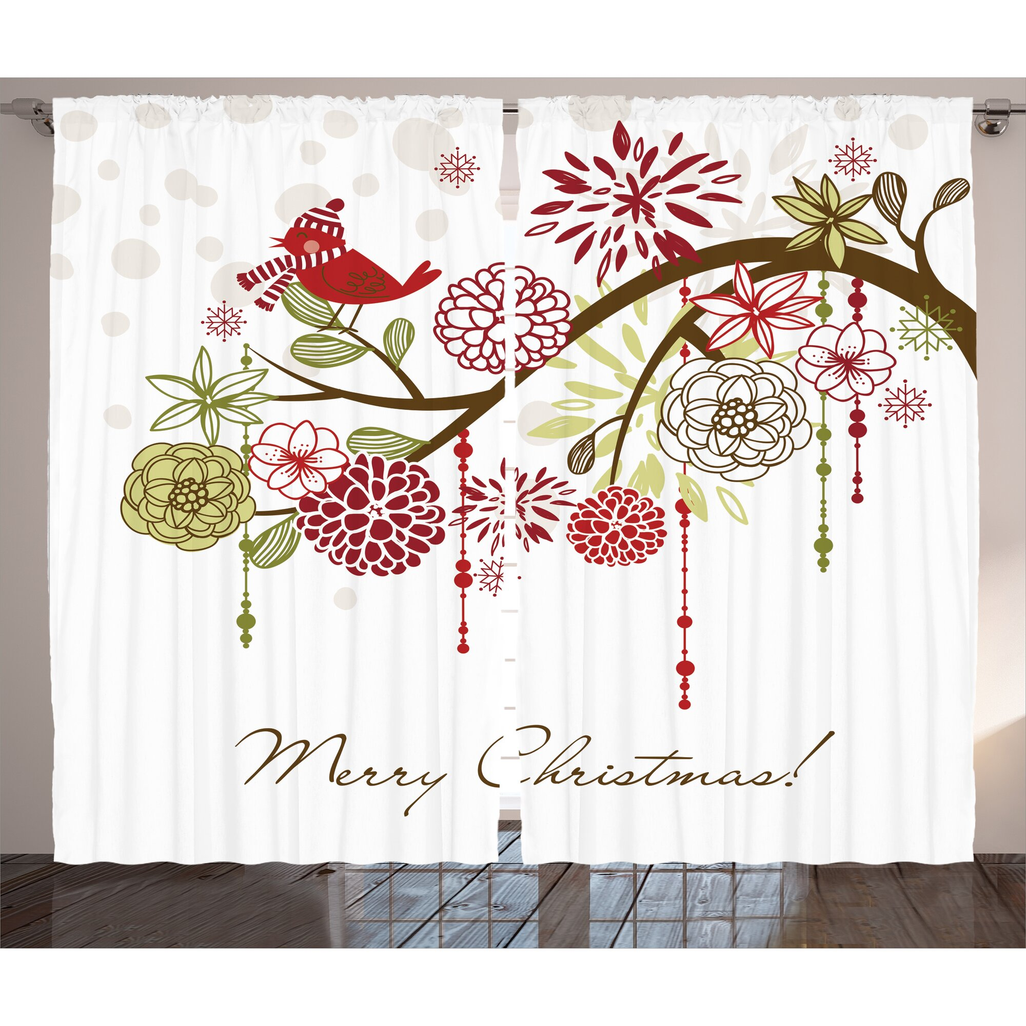Bird Curtain Panels - Christmas decorations sacred floral winter red bird with hat and scarf on blooming tree graphic print