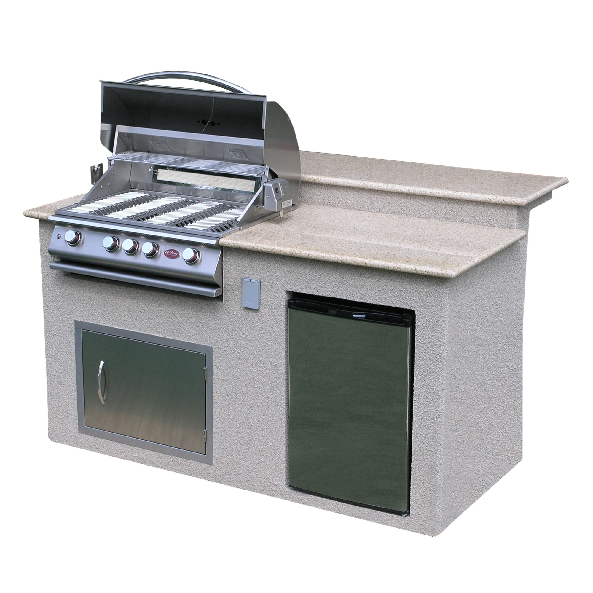 CalFlame 4 Burner Built In Gas Grill Island with Refrigerator with ...