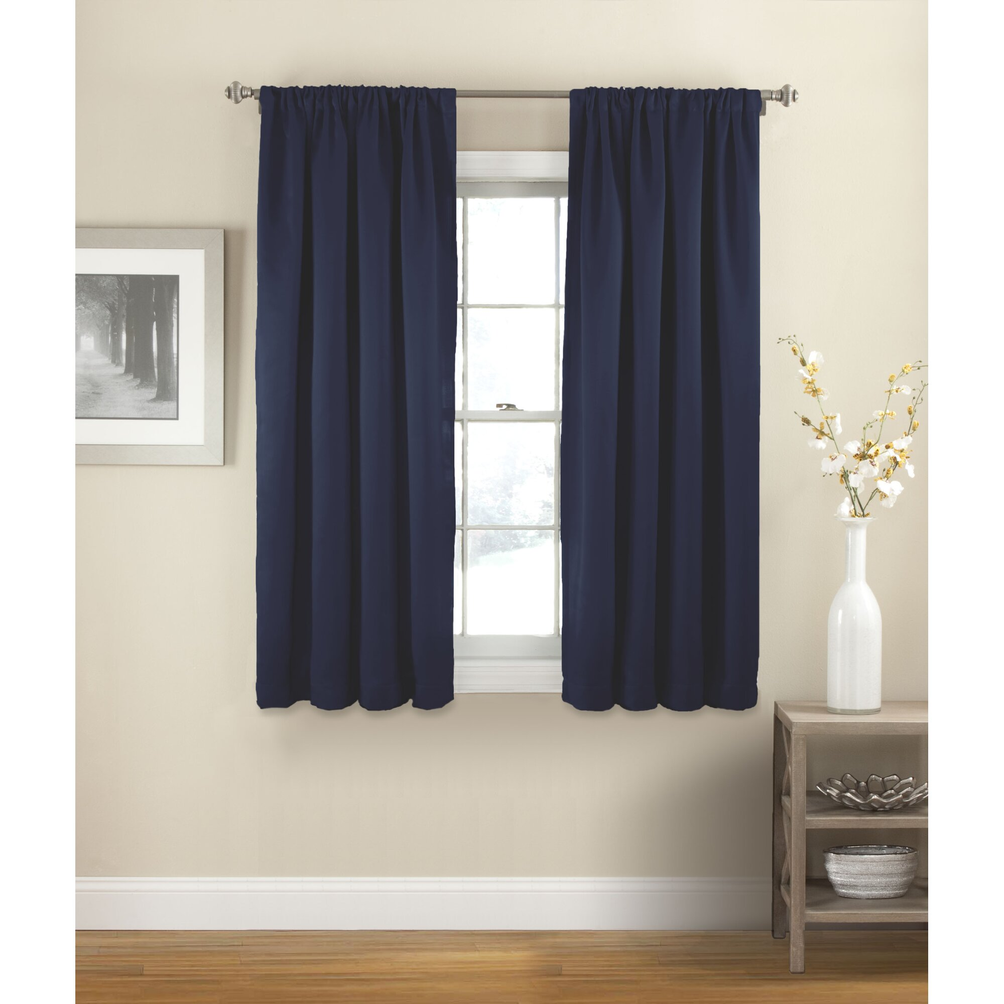 Short curtain rods for side panels - Vina Solid Room Darkening Thermal Rod Pocket Single Curtain Panel