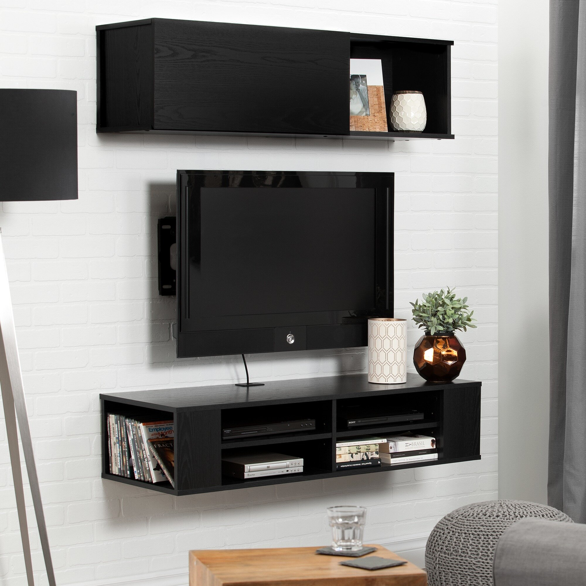 south shore city life wall mounted 48 39 39 tv stand. Black Bedroom Furniture Sets. Home Design Ideas