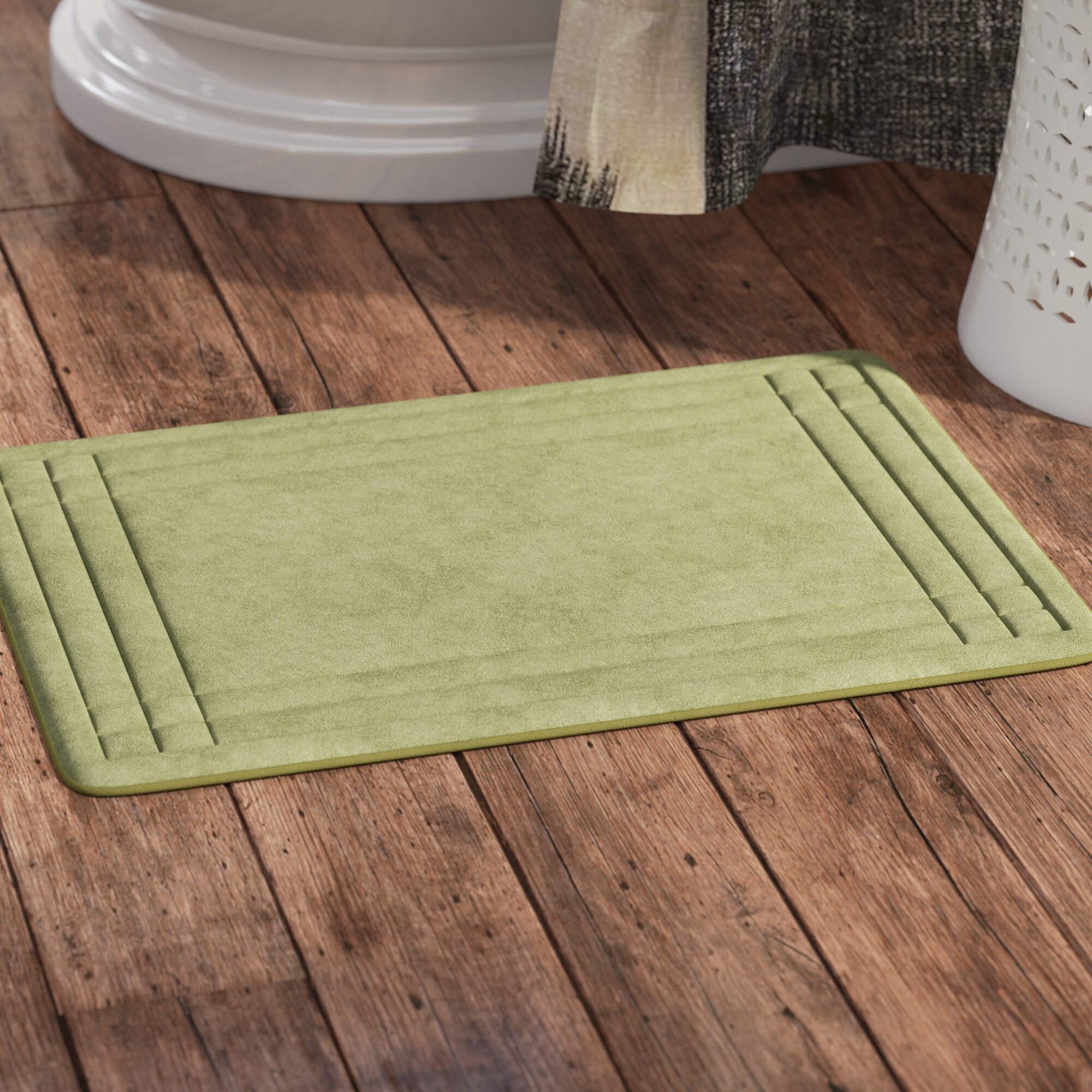 Bright red bathroom rugs - Mcbride Embossed Memory Foam Bath Rug