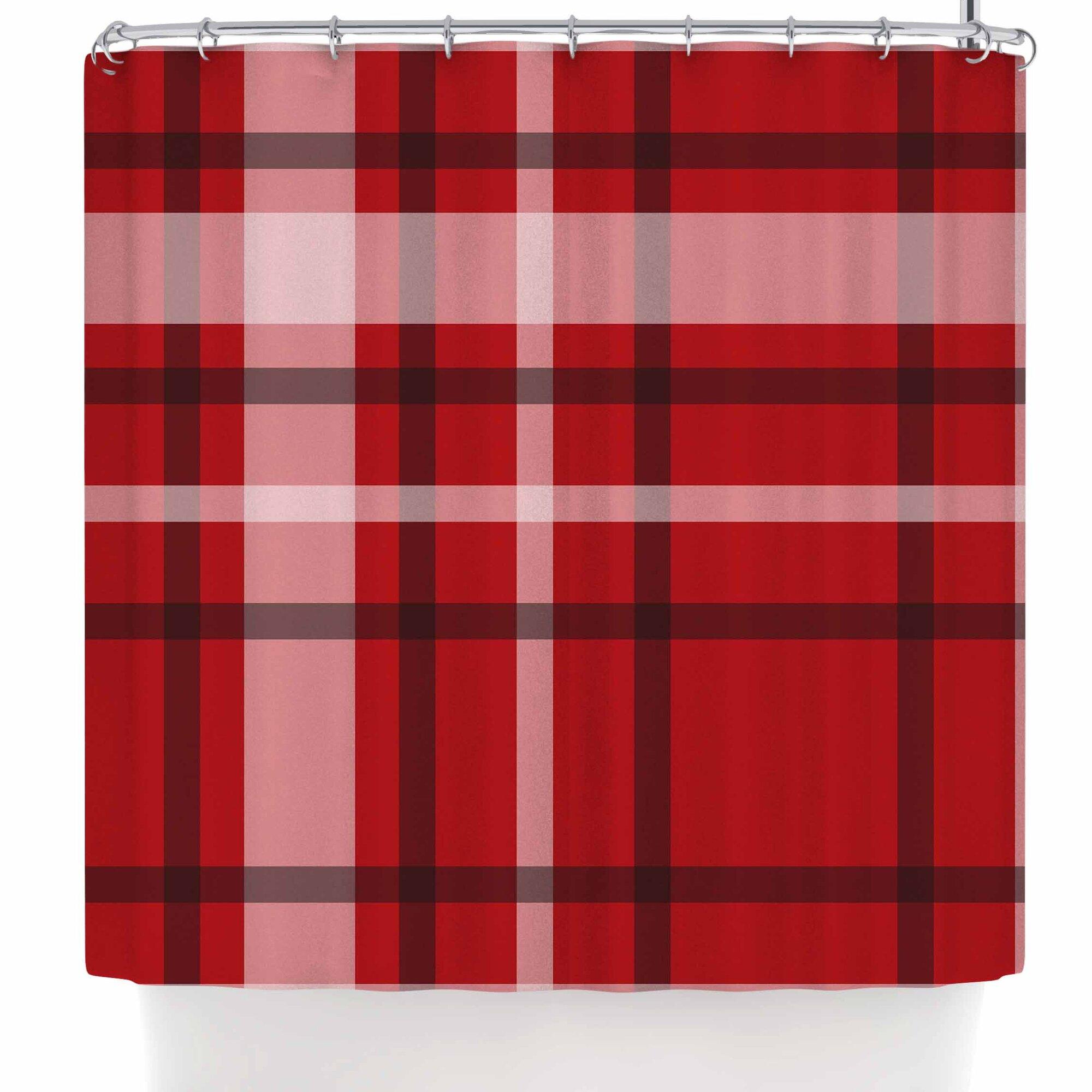 Famenxt Plaid Red Shower Curtain