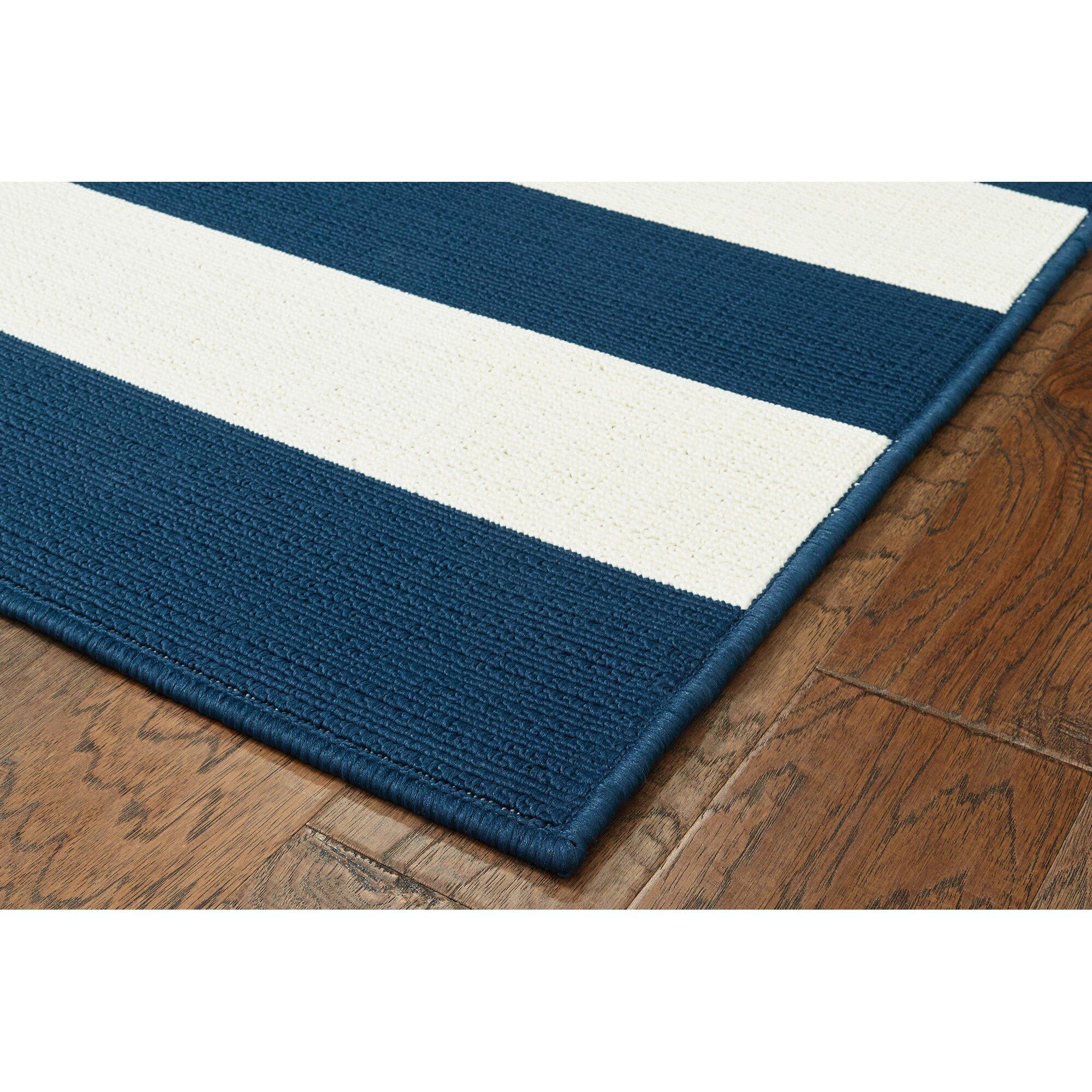 breakwater bay henley stripe navy white indoor outdoor area rug reviews. Black Bedroom Furniture Sets. Home Design Ideas