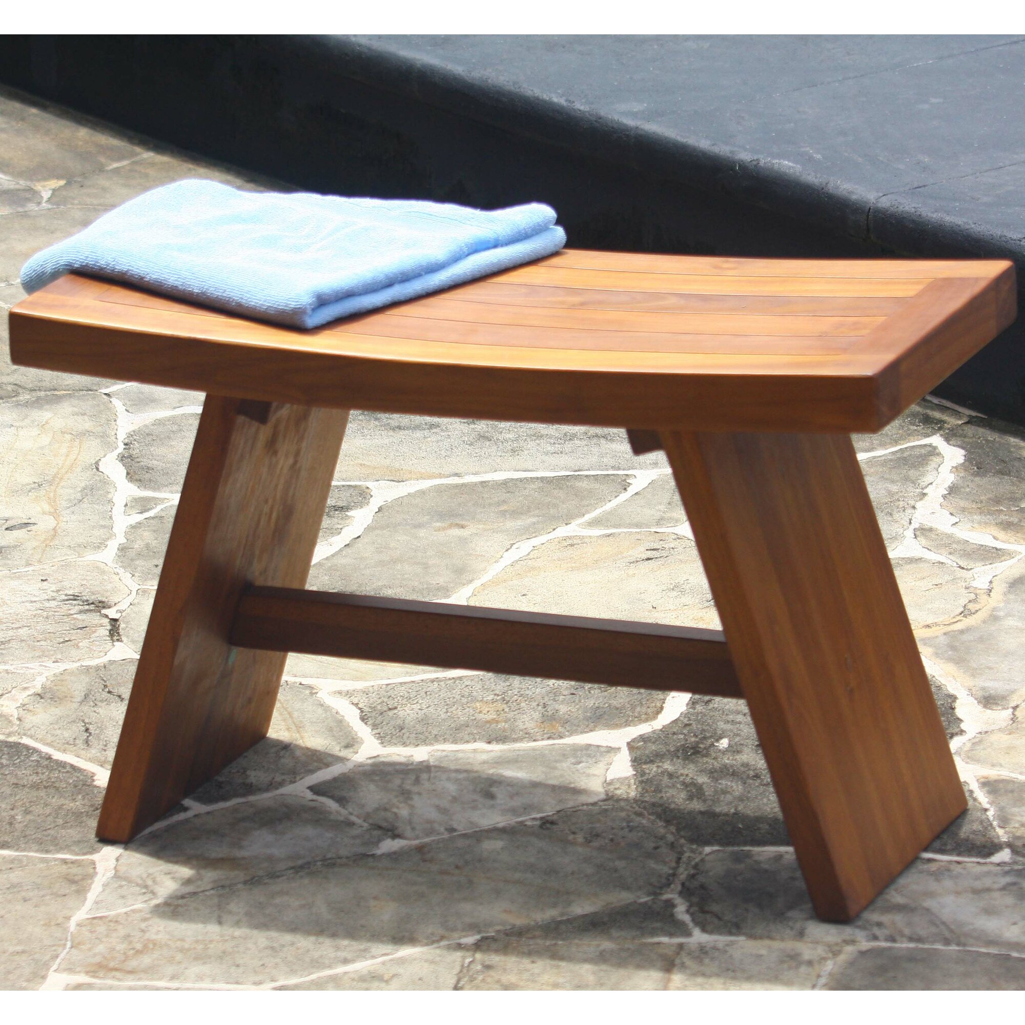 Teak shower chair with back - Asiana Teak Shower Seat