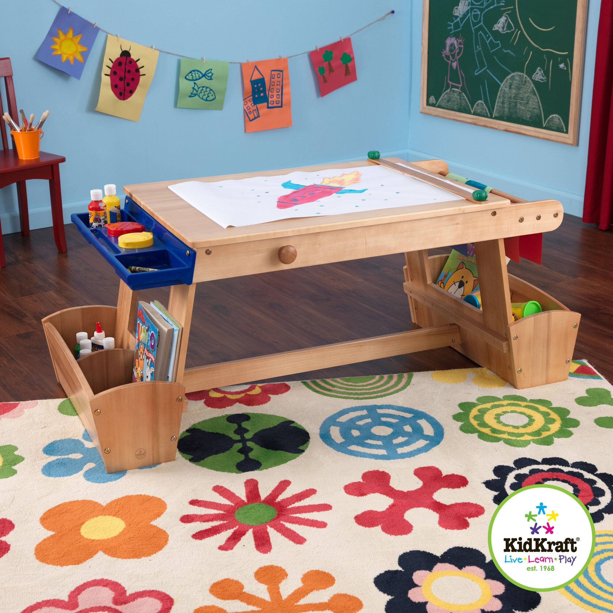 Arts and craft table - Kidkraft Drying Rack And Storage Kids Arts Crafts Table