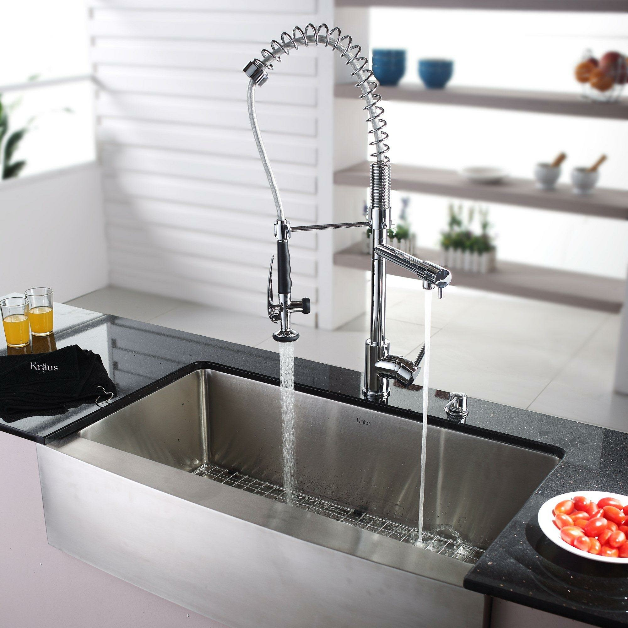 "Kraus 35 88"" x 20 75"" Farmhouse Kitchen Sink with Faucet and Soap D"