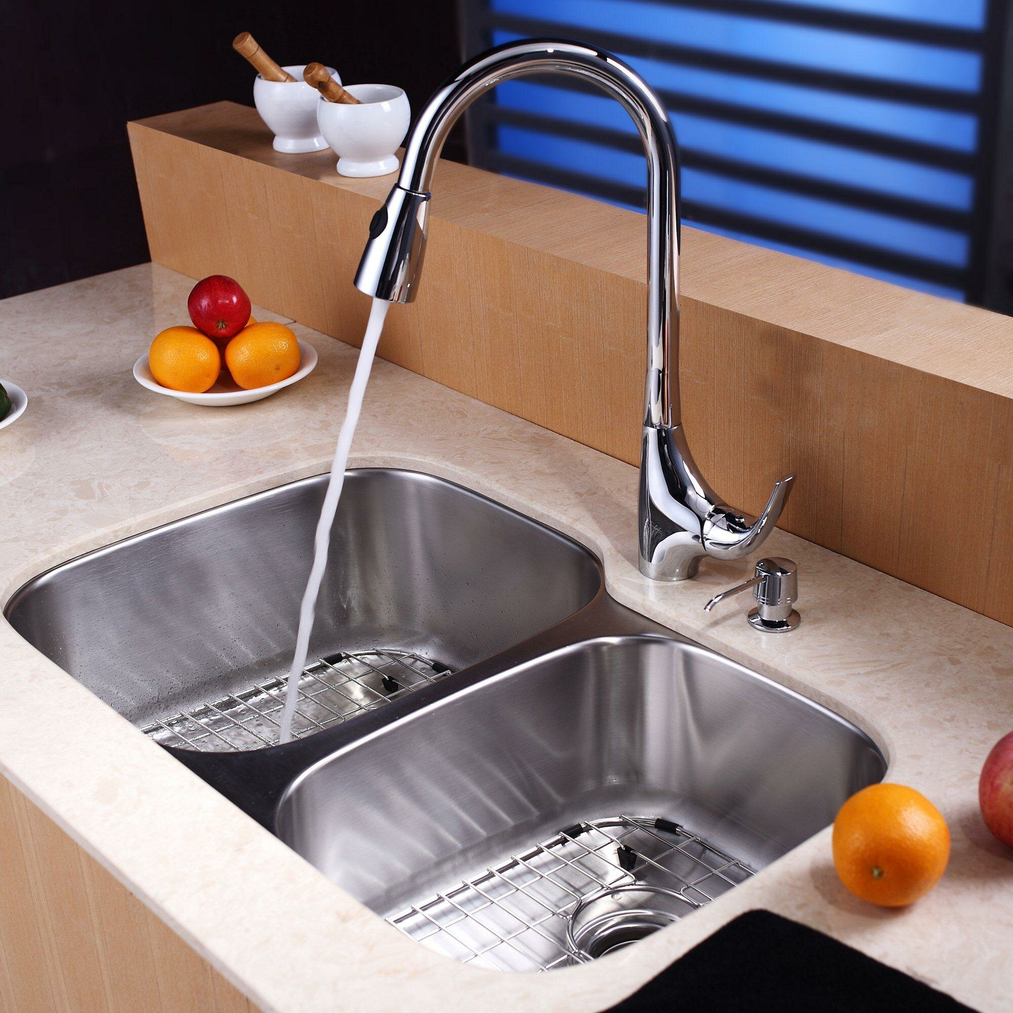 32 x 2075 double basin undermount kitchen sink set with faucet and soap dispenser - Kitchen Sink And Faucet Sets