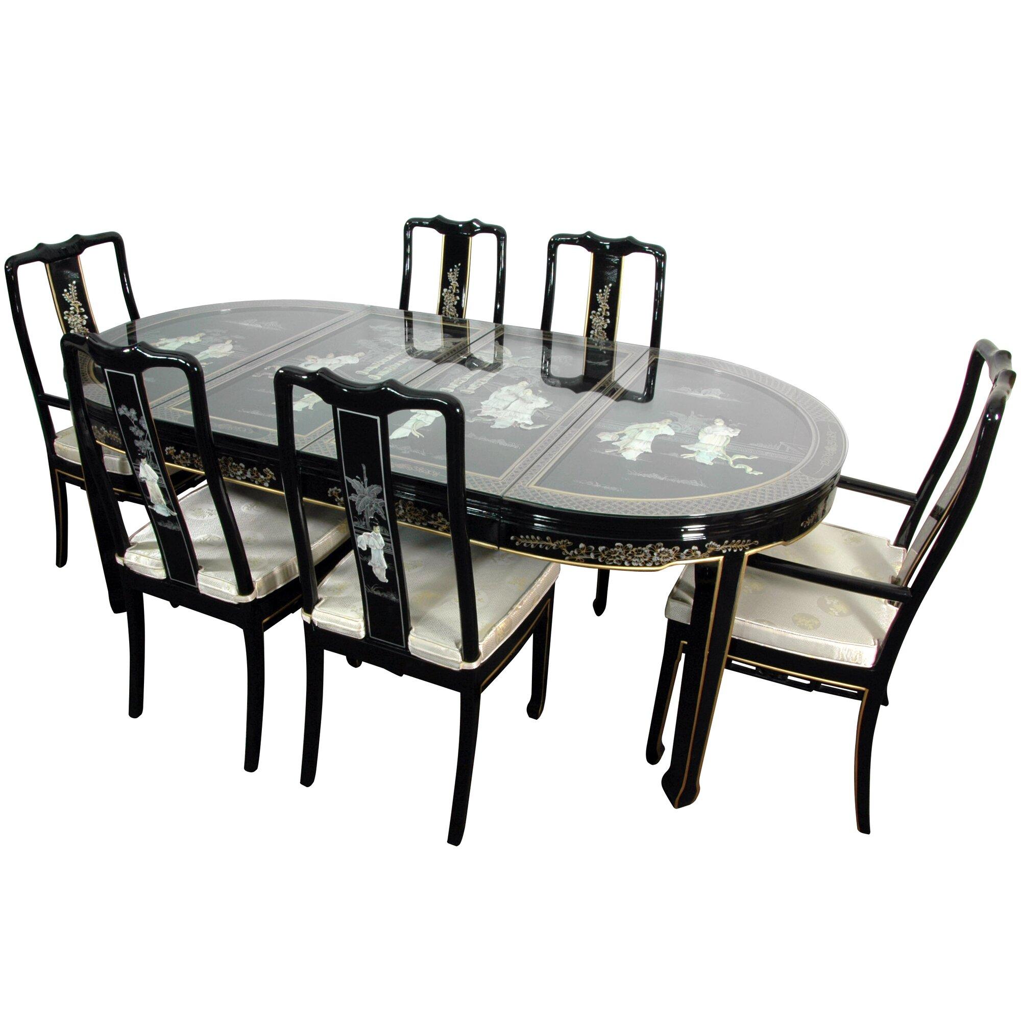 Oriental Furniture Lacquer 7 Piece Dining Set | Wayfair
