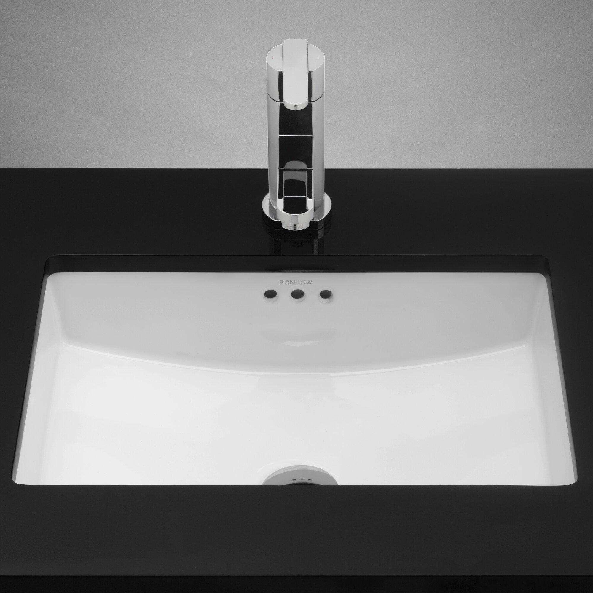 Modern bathroom sinks - Lesteter Ceramic Rectangular Undermount Bathroom Sink With Overflow