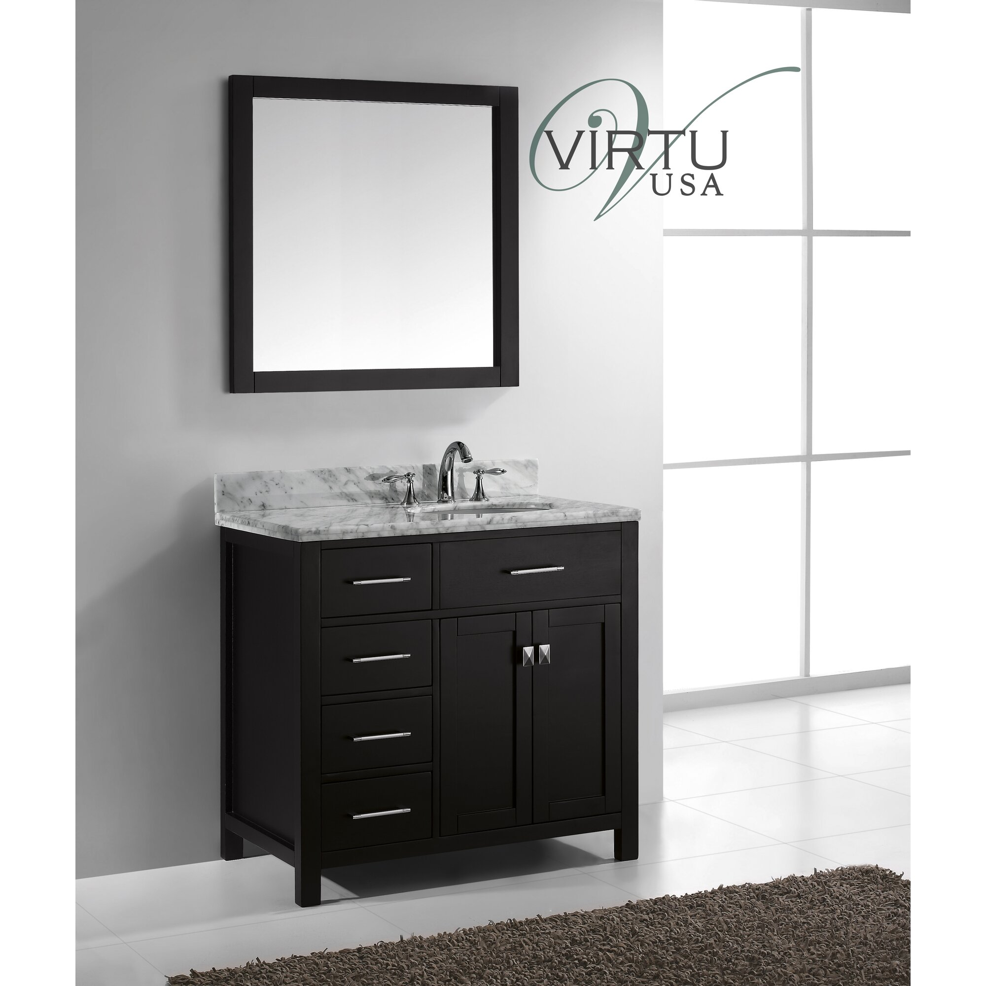 """Latitude Run Stoughton 37"""" Single Bathroom Vanity Set with Carrara White"""