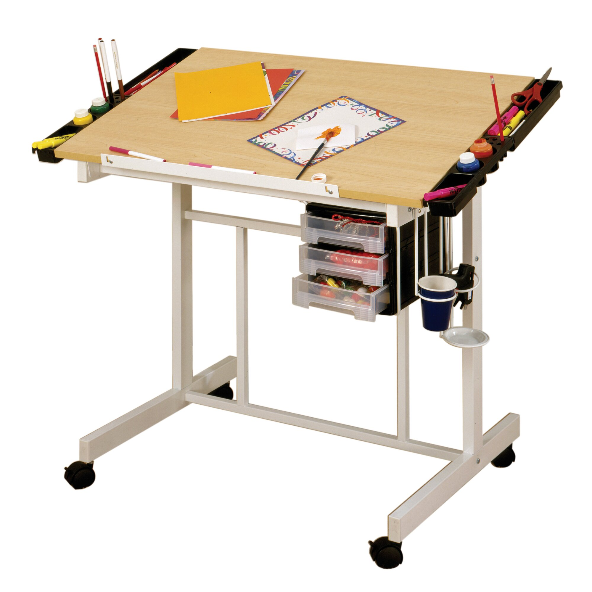 Studio designs deluxe metal craft station reviews wayfair for Rolling craft table with storage