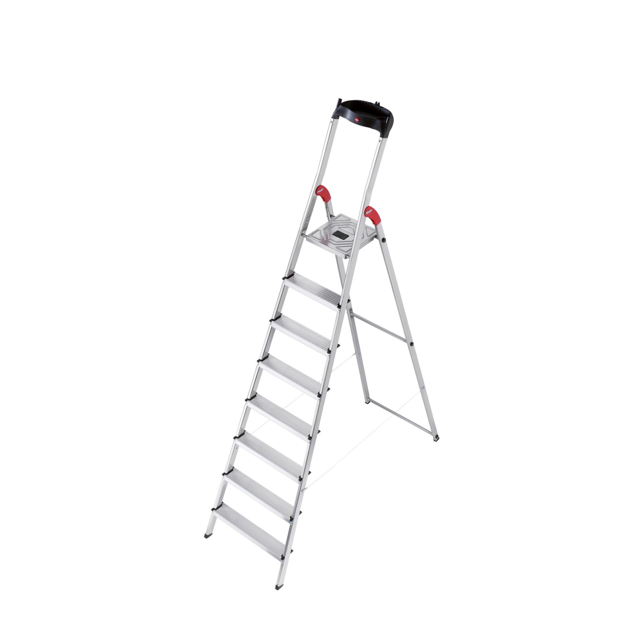 Hailo Usa Inc 7 64 Ft Aluminum Step Ladder With 330 Lb