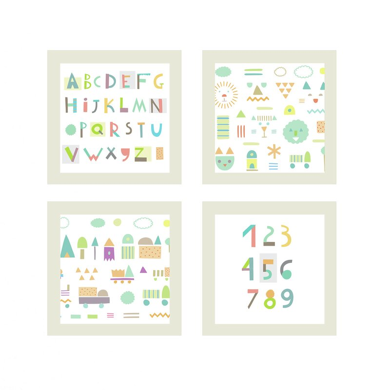 Wayfair Wall Art fundeco abc's and numbers 4 piece wall art set & reviews | wayfair