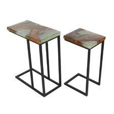 Ailey 2 Piece Teak Wood Nesting Tables Set by Latitude Run