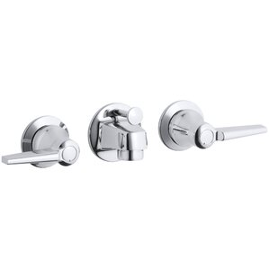 Triton Shelf-Back Commercial Bathroom Sink Faucet with Pop-Up Drain and Lever Handles
