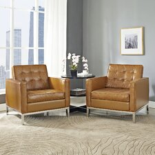 Loft Leather Armchair (Set of 2) by Modway