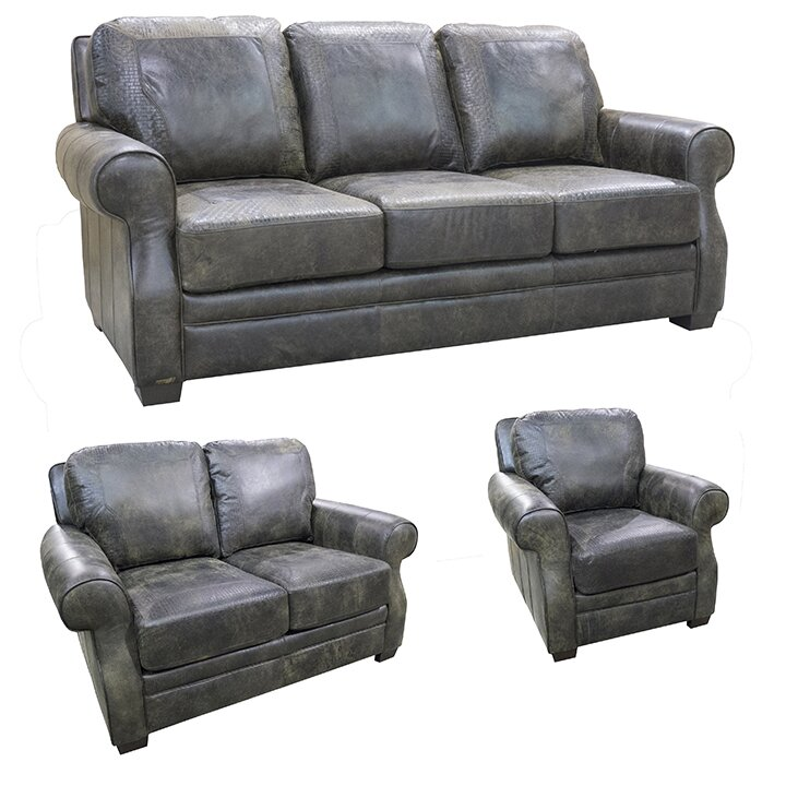 ... coja boise top grain leather sofa loveseat and chair set wayfair ...