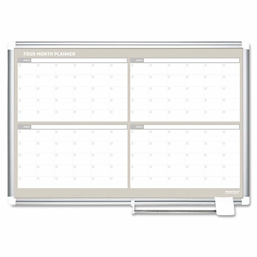 Mastervision 4 Month Calendar Wall Mounted Magnetic Whiteboard ...