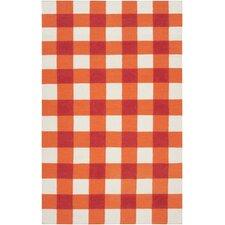 Happy Cottage Orange/White Plaid Area Rug