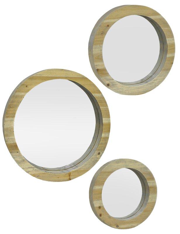 Wall Mirror Set Of 3 three hands co. 3 piece circular wood wall mirror set | wayfair
