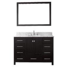 "Cordeiro 48"" Single Bathroom Vanity Set with Carrara White Top and Mirror"