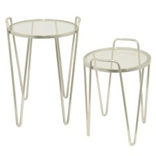 Metal and Glass 2 Piece Nesting Tables by Three Hands Co.