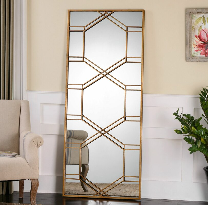 Willa Arlo Interiors Rectangle Gold Leaf Leaner Mirror Reviews