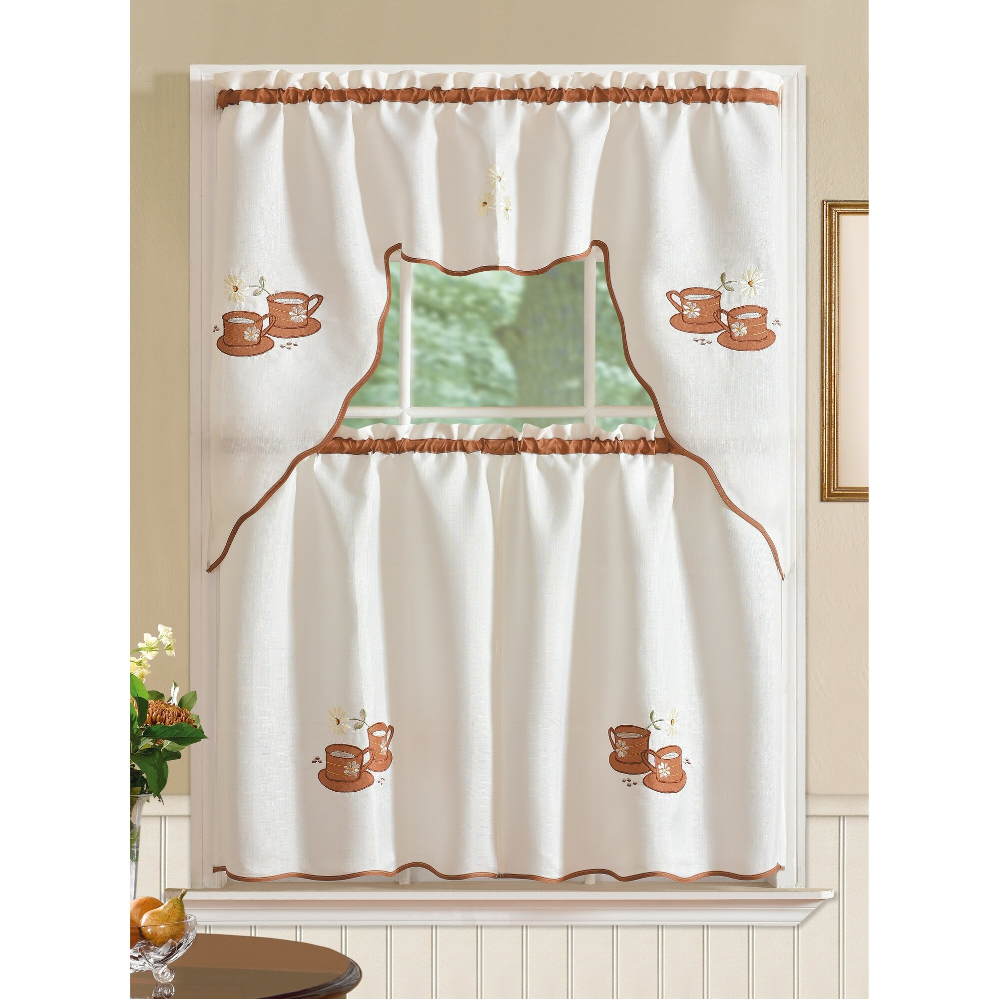 Winston Porter Mayer Coffee 3 Piece Kitchen Curtain Set