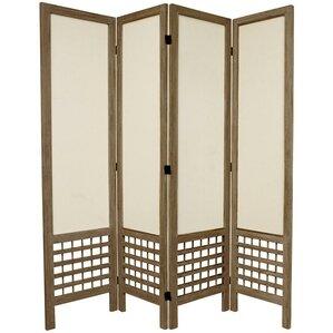 67 Tall Open Lattice Fabric 4 Panel Room Divider
