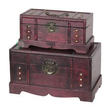 Antique Wooden Trunk, Old Treasure Trunk (2 Piece Set) by Quickway Imports