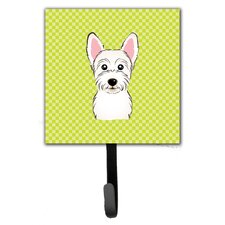 Checkerboard Westie Leash Holder and Wall Hook by Caroline's Treasures