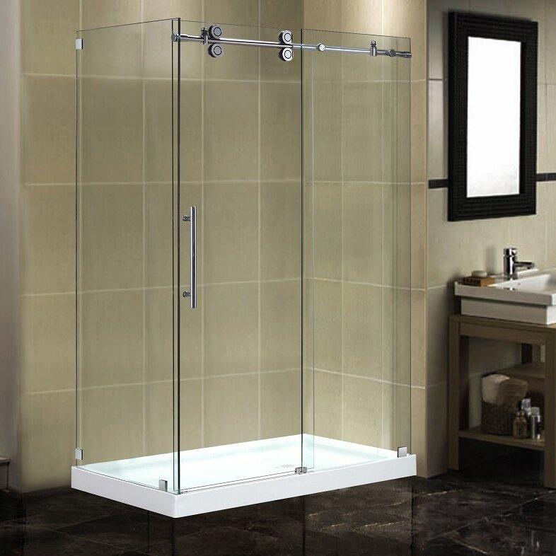 Frameless Sliding Shower Door Vigo Industries 60 In Frosted Gl