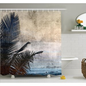 Tropical Grunge Palm Trees Art Shower Curtain Set Ambesonne