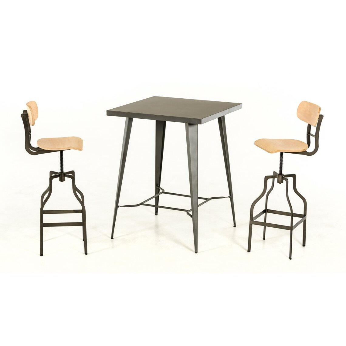 17 stories ashleigh 3 piece wood top pub table set for Ashleigh dining set