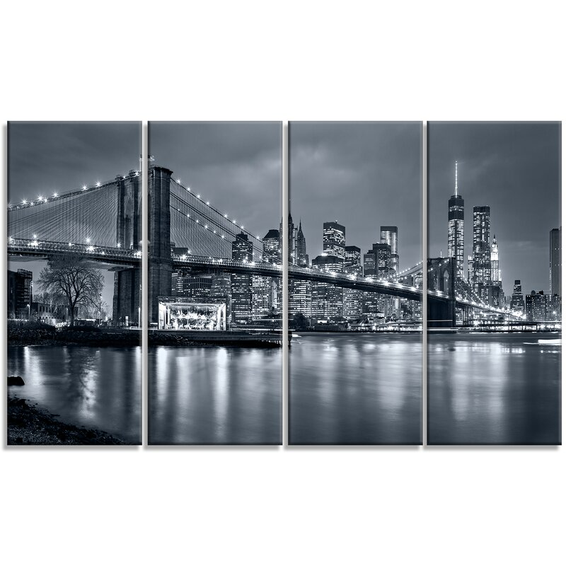 4 Piece Wall Art designart 'panorama new york city at night' 4 piece wall art on