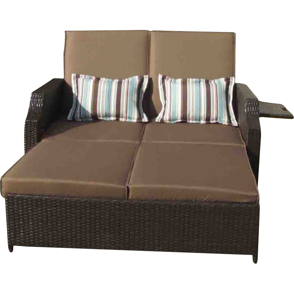 Gazebo penguin double chaise lounge with cushions for Chaise double lounge