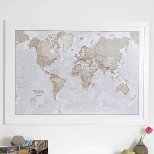 'World is Art Map' Graphic Art Print in Neutral Colour