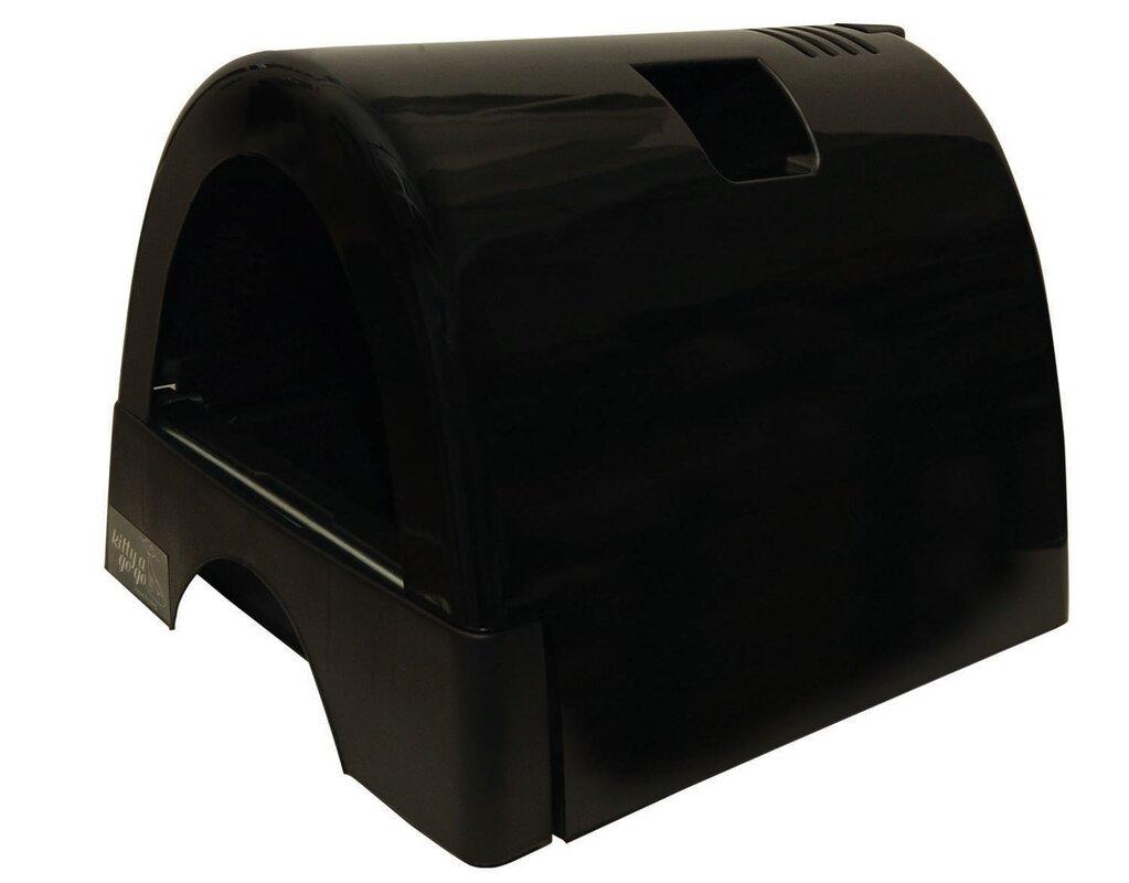 kittyagogo designer cat litter box with black shiny cover  - defaultname