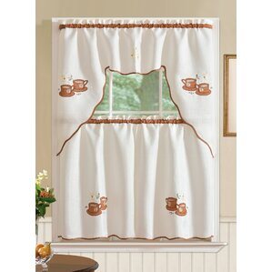 Charming Mayer Coffee 3 Piece Kitchen Curtain Set