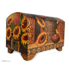 Sunflowers and Talavera Decoupage Chest by Novica